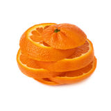 Fresh tangerine cut in slices isolated over the. Fresh ripe tangerine cut in slices isolated over the white background royalty free stock photos