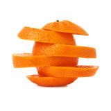 Fresh tangerine cut in slices isolated over the. Fresh ripe tangerine cut in slices isolated over the white background stock image