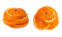 Fresh tangerine cut in slices isolated over the white background. Fresh ripe tangerine cut in slices isolated over the white background stock images