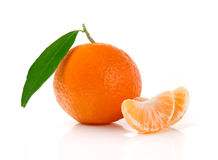 Fresh Tangerine Fruit. Fresh Mandarin with Leaves and Slices  on White Royalty Free Stock Photos