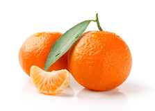 Fresh Tangerine Fruit. Fresh Mandarin with Leaf and Slice Isolated on White Royalty Free Stock Photos