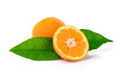 Fresh Tangerine Fruits. Fresh Mandarins Isolated on White Stock Images