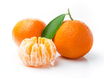 Fresh Tangerine Fruits. Mandarins Isolated on White Background Stock Photo