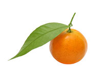 Fresh tangerine with green leaf taken closeup.Isolated. Stock Image