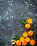 Fresh tangerine juice or liquor. Top view Royalty Free Stock Photo