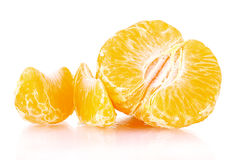 Fresh tangerine with leaves and segments Stock Photos
