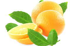 Fresh tangerine or mandarin fruit with leaves Stock Photos