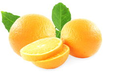 Fresh tangerine or mandarin fruit with leaves Stock Photography