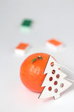 Fresh Tangerine with orange and green watercolors and white wooden fir tree isoalted. Stock Photo