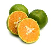 Green tangerine isolated on white background. Fresh tangerine orange isolated on white background stock photos