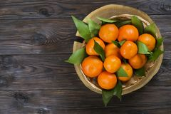 Fresh tangerine oranges on a wooden table. Peeled mandarin. Halves, slices and whole clementines closeup. Basket of fresh mandarin oranges, whole, halved & Royalty Free Stock Images