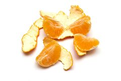 Fresh tangerine on a white background stock images