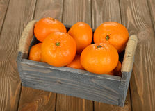 Fresh tangerines in the box Royalty Free Stock Images