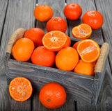 Fresh tangerines in the box Royalty Free Stock Photography