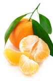 Fresh tangerines close-up. Close-up of fresh whole tangerine and slices on white background Royalty Free Stock Photo
