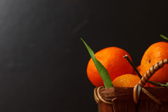 Fresh tangerines on dark Royalty Free Stock Photography
