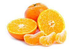 Fresh tangerines fruits with cut and slices Royalty Free Stock Image