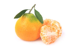 Fresh Tangerines Green Leafs Stock Photography