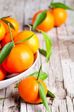Fresh tangerines with leaves Royalty Free Stock Photos