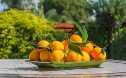 Fresh tangerines lie on mosaic table in rectangular green plate Stock Photo
