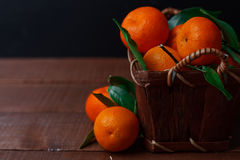 Fresh tangerines in old box Royalty Free Stock Photography