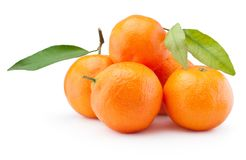 Fresh tangerines oranges fruit with leaves isolated on white background. Fresh tangerines oranges fruit with leaves isolated on a white background stock image
