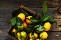 Fresh tangerines in rustic wooden box, top view Stock Photos