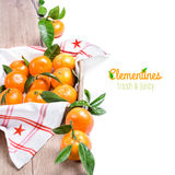 Fresh tangerines on wood isolated on white Stock Photography