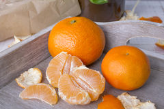 Fresh tangerines in a wooden box Royalty Free Stock Image
