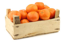 Fresh tangerines in a wooden crate Royalty Free Stock Photography
