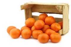 Fresh tangerines in a wooden crate Royalty Free Stock Images