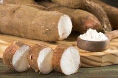 Fresh tapioca / cassava root / cassava / aipim cut open, Kerala - Manihot esculenta stock image
