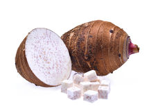 Fresh taro with cubes and slice isolated on white background Stock Photo