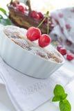 Fresh tart with cherries stock photo