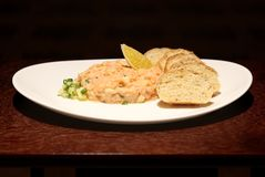 Fresh Tartar with Salmon and bread. Close stock image