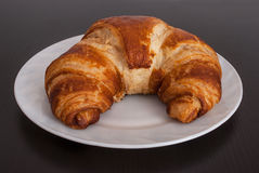 Fresh and tasty bavarian croissant on white plate Royalty Free Stock Photo
