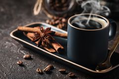Espresso cup of hot coffee Royalty Free Stock Image