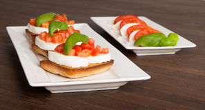 Fresh and tasty bruschetta Stock Photos