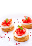 Fresh tasty bruschetta with mozzarella Stock Photos