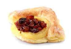 Fresh and tasty buns with raisins. Over white background Stock Photos