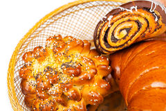 Fresh and tasty buns with with sesame and poppy seeds, bagel wit Royalty Free Stock Photography