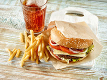 Fresh tasty burger complect Royalty Free Stock Images