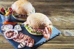 Fresh tasty burger. Royalty Free Stock Photo