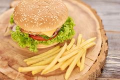 Fresh tasty burger and french fries. French fries and appetizing cheeseburger on natural wood. Classic american food Stock Images