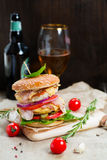 Fresh tasty burger. With vegetables and meat Royalty Free Stock Photos