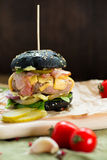 Fresh tasty burger. With vegetables and meat Royalty Free Stock Image