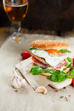 Fresh tasty burger. With vegetables and meat Royalty Free Stock Images