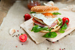 Fresh tasty burger. With vegetables and meat Stock Photography