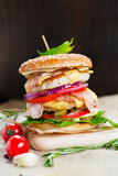 Fresh tasty burger. With vegetables and meat Royalty Free Stock Photo