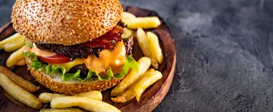 Fresh Tasty Burger With French Fries Royalty Free Stock Photography